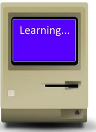 Computer with the word learning on screen